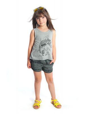 Shorts - Harper Tulum, sort mønstret
