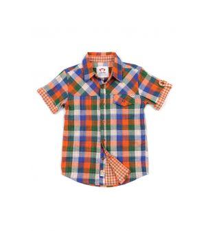 Kortermet skjorte - Harvey Shirt Check, Oransj